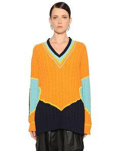 Maison Margiela Color Block Cotton Jacquard Knit Sweater $975