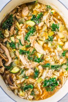 Easy 30-Minute Kale, White Bean, and Chicken Soup by averiecooks: Loaded with juicy chicken, healthy kale, and tender beans! Easy, hearty, and satisfying. Love it when something healthy tastes so good!