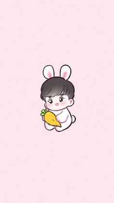 Suho the bunny child Exo Cartoon, Exo Stickers, Exo Anime, Chibi Wallpaper, Chanyeol Baekhyun, Exo Fan Art, Exo Lockscreen, Kpop Exo, Exo Kokobop