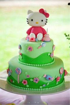 originelle Tortendekoration Hello Kitty Torte, Bolo Da Hello Kitty, Pretty Cakes, Cute Cakes, Hello Kitty Birthday Theme, Happy Birthday, Bolo Fack, Cartoon Cookie, Jungle Cake