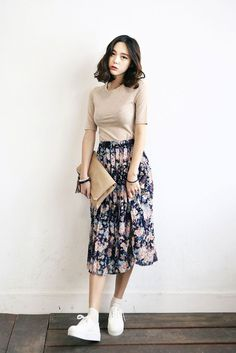Flower Chiffon Long Skirt | Korean Fashion More