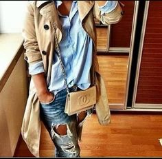 trench coat with blue shirt outfit- Fall trending outfit ideas http://www.justtrendygirls.com/fall-trending-outfit-ideas/