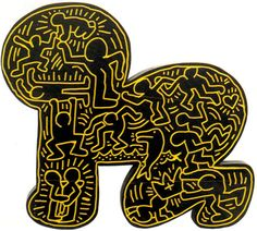 #KeithHaring  Untitled, 1983 Encaustic on Incised Wood by Kermit Oswald 35 x 36 x 2 1/2 inches  JKLFA.com