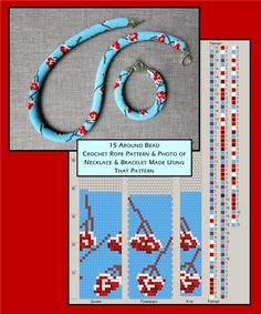 15 around bead crochet rope pattern and photo showing a necklace and bracelet made in that design. I did not create the pattern or jewellery but put the two together as it is useful when choosing my next project. Crochet Bracelet Pattern, Crochet Beaded Necklace, Beaded Necklace Patterns, Bead Crochet Patterns, Bead Crochet Rope, Beading Patterns, Beaded Crochet, Seed Bead Jewelry, Bead Jewellery