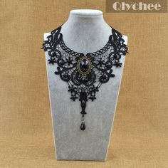 Fashion Jewelry Vintage Steampunk Necklace Black Lace Beads Rhinestone Choker…