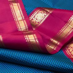 TH-KS3400011- Thamboori handwoven pure kanjivaram silk- peacock blue black podikattam with double plate korvai in pink