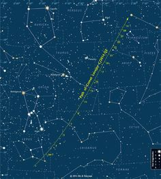 A detailed finder chart shows where to look for Comet Lovejoy during January 2015. The dates' tick marks indicate the position at 0:00 Universal Time (7 p.m. on the previous date Eastern Standard Time). <br />