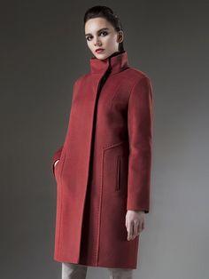 Пальто женское демисезонное цвет терракотовый, Пальтовая ткань, артикул 1014182p10013