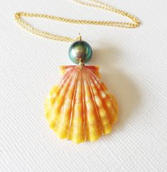 Sunrise shell necklace sunrise shell with by MaimodaJewelry.. silver