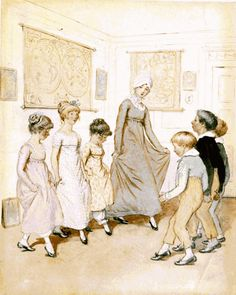 Thomson, Hugh Phoebe Giving Dancing Lesson- JM Barrie's 'Quality Street Regency Era, Regency Dress, Jane Austen, Renaissance, Jm Barrie, Quality Street, Empire, Country Dance, Halloween Costumes