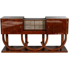 Art Deco Style Console or Sideboard in Burl Walnut and Shagreen | From a unique collection of antique and modern sideboards at https://www.1stdibs.com/furniture/storage-case-pieces/sideboards/