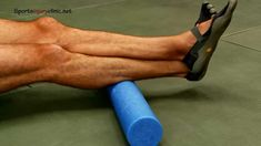 Calf muscle pilates roller exercise