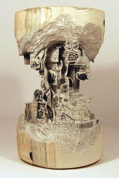 Book Art Carving Sculpture by Brian Dettmer Art Actuel, Altered Book Art, Book Sculpture, Paper Sculptures, Antony Gormley, Art Original, Wow Art, Pics Art, Art Plastique
