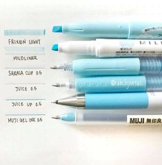 The BLUE gel pen and highlighter swatch by ig rabchjournals all the beautiful blue shades Find the MUJI gel ink pens Pilot Juice pens Juice UP pens Sakura Clip Color pens Mildliners and Frixion Soft Color Highlighters at Stationary Supplies, Stationary School, Cute Stationary, School Stationery, Art Supplies, Cool School Supplies, Japanese School Supplies, School Supplies Highschool, College School Supplies