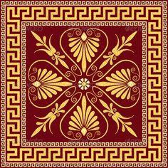 Paper Embroidery Patterns Vector Traditional Vintage Gold Greek Ornament - Vector Traditional vintage golden square Greek ornament (Meander) and floral pattern on a black background. More backgrounds, ornaments, seamless patterns for you: Fitted Tablecloths, Tablecloth Fabric, Ornament Pattern, Greek Pattern, Ancient Greek Art, Design Floral, Paper Embroidery, Watercolor Art, Pointillism