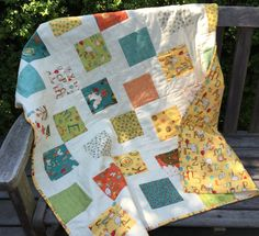 Colorful baby quilt or nursery bedding. Dimensions are by Made with quality Moda fabrics (Mind Your Ps and Qs and Bella Solids). Goofy Dog, Baby Nursery Bedding, Quilting For Beginners, Yellow Print, Quilt Making, Fabric Patterns, Baby Quilts, Gift Baskets, Quilt Blocks