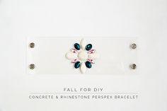 DIY Concrete & Rhinestone Perspex Bracelet // Fall For DIY