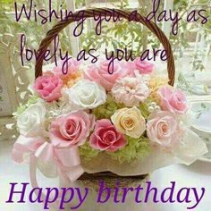 Happy Birthday ~ Wishing you a day as lovely as you are ~ pink and white bouquet Happy Birthday Flowers Wishes, Happy Birthday Cake Images, Happy Birthday Wishes Cards, Birthday Blessings, Birthday Cheers, Happy Birthday Sister, Birthday Love, Birthday Quotes, Congratulations
