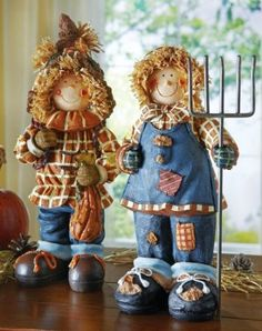 Amazon.com - Harvest Scarecrow Couple Indoor Fall Decoration Girl By Collections Etc