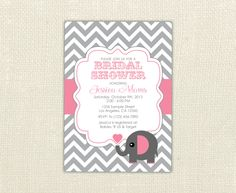 Chevron Elephant Bridal Wedding or Baby Shower Sip & See Invitation custom colors for any event. $10.00, via Etsy.