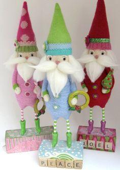 Причудливая иглы Felted Санта - Праздничное оформление - Рождественские Декор - светло-голубой и зеленый