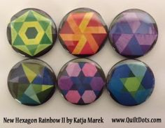 New Hexagon Rainbow II by Katja Marek Collection of 6 Pins or Magnets