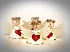Andílek  č.1309 Christmas Angels, Christmas Time, Angel Ornaments, How To Make Bows, Jingle Bells, Creative Gifts, Decoupage, Pattern, Navidad