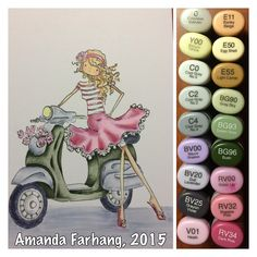 Colored by Amanda Farhang. This is a rubber stamp by Stamping Bella, inked with My Favorite Things Black Licorice Hybrid Ink & stamped onto Neenah Exact Index white cardstock & colored with copic sketch markers.