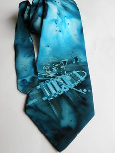 Exclusive Gift for MEN'S Hand painted silk men necktie for Xylophone player , light blue FREE SHIPPING. $60.00, via Etsy.