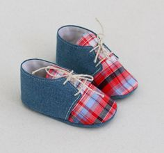 Baby Shoes jeans and red plaid, baby booties, Oxford shoes, fabric crib shoes, padded sole, baby boy shoes, baby girl shoes, toddler shoes on Etsy, $295.70