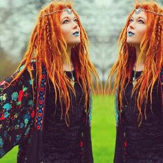 Elise Buch wears our Hecate headchain www.whitesthour.com #headchain #redhead #blogger #hippy #boho #folk #Danish #forest #jewellery #festival #fashion #crystal Dreadlocks Girl, Synthetic Dreadlocks, Hippie Hair, Hippie Boho, Dreadlock Hairstyles, Cool Hairstyles, Dreadlock Accessories, Birthday Hair, Hair Images
