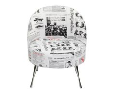 What's black and white and...sat on? A chair covered with images of pages from the New York Times.