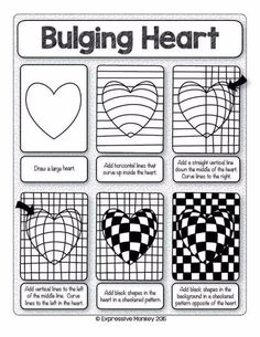 Make this Op Art Heart with step-by-step instructi. - - Nicole Wullweber - Make this Op Art Heart with step-by-step instructi. - Make this Op Art Heart with step-by-step instructi. Optical Illusion Quilts, Art Optical, Optical Illusions, Op Art Lessons, Art Lessons Elementary, Art Worksheets, Valentines Art, Zentangle Patterns, Heart Art