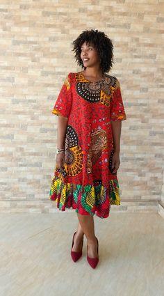 African Print Fashion, African Fashion Dresses, African Attire, Fashion Prints, Simple Dresses, Casual Dresses For Women, African Dress Patterns, African Design, Basin