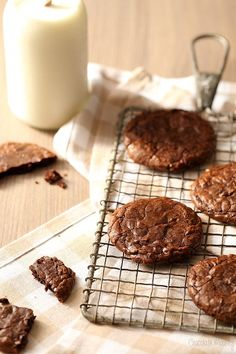 These fudgy brownie cookies really do taste like brownies in cookie form and are unbelievably chocolatey thanks to one secret ingredient. Get the recipe at www.chocolatemoosey.com