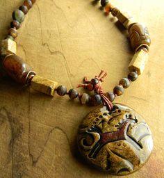 Horse Pendant Necklace Artisan Ceramic Picture Jasper Agate