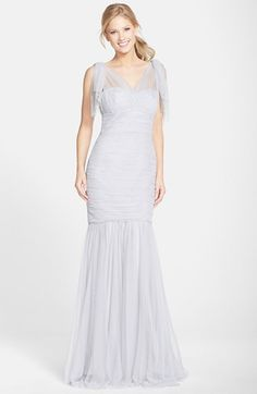 Amsale Drape Shoulder Tulle Mermaid Gown available at #Nordstrom