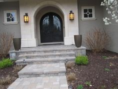 Front Porch - Walkways - Porch - Steps - Cherry Hills, Colorado     Designs and ideas for a front porch - walkway pavers, with steps.   A large parking area was also installed on this project.   Pavement installed in Cherry Hills, CO - Denver, Colorado