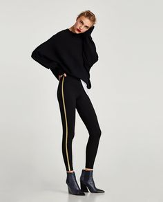 LEGGINGS WITH GOLDEN METAL DETAIL-View all-TROUSERS-WOMAN | ZARA United States