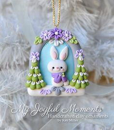 Handcrafted Polymer Clay Winter Bunny Scene Ornament by Kay Miller.