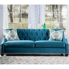 Furniture of America Elsira Premium Velvet Cerulean Blue Sofa (€1.565) ❤ liked on Polyvore featuring home, furniture, sofas, blue, button sofa, nailhead couch, blue furniture, blue velvet sofa and button couch