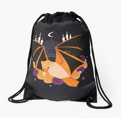 'Familiar - Orange Painted Bat' Drawstring Bag by straungewunder Animal Design, Drawstring Backpack, Funny Animals, Backpacks, Stickers, Orange, Artwork, Stuff To Buy, Gifts