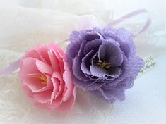 Say it with flowers... Personalized your flower to convey a short sentiment. Vintage Inspired Handmade Crepe Paper Flower  This listing is for one peony flower either in pink or lavender tied in Tulle and ribbon shown above. With your option choice (no extra cost) personalized paper tag