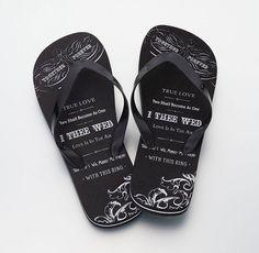 """I Thee Wed"" Groom Flip Flops"