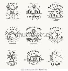 Set of 9 flat line art travel logotypes , dibujos Set 9 Flat Line Art Travel Stock Vector (Royalty Free) 419093482 Mini Drawings, Doodle Drawings, Easy Drawings, Bullet Journal Travel, Bullet Journal Art, Travel Doodles, Doodle Art Journals, Travel Drawing, Camping Drawing