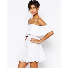 ASOS Cold Shoulder Mini Dress ($41) ❤ liked on Polyvore featuring dresses, ivory, white cold shoulder dress, short ruffle dress, white ruffle dress, white mini dress and ruffle dress