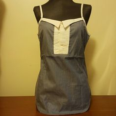"""DSQUARED tuxedo tank top NWOT Dsquared """"tuxedo"""" tank top. Blue and white pin striped with white spaghetti straps. Accordion pleating front detail with foldover at bustline. Hidden side zip. Embroidered dsquared logo. NEVER WORN. Italian size 42 (about U.S. size 6) dsquared Tops Tank Tops"""
