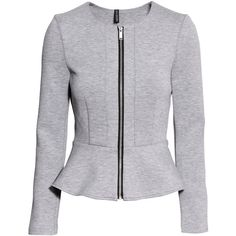H&M Peplum jacket ($38) ❤ liked on Polyvore featuring outerwear, jackets, grey, peplum jacket, h&m jackets, zipper jacket, gray jacket and zip jacket