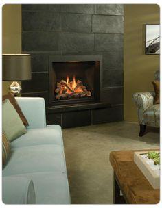 slate+tile+16x24+fireplace | Valor Ventana with black Inca Slab liner.
