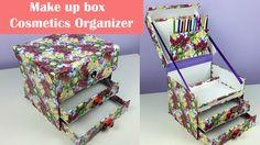 A great looking DIY  make up box/ cosmetics organizer using cardboard.